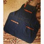 Фартук джинсовый с нагрудником съёмными бретелями бариста повара торг