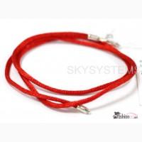 Шелковый шнурок красный, шелк, шнур шелковый цветной в серебре