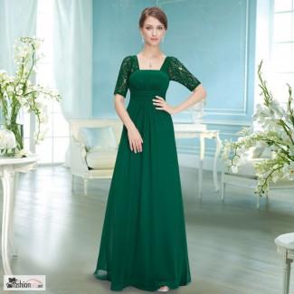 Зелёное вечернее платье