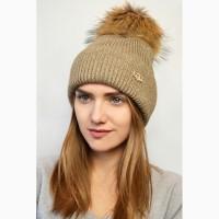 Зимняя шерстяная шапка, очень теплая! мех енота, разные цвета